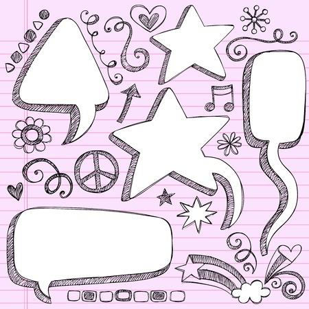 Sketchy 3-D Shaped Comic Book Style Speech Bubbles-Hand Drawn Notebook Doodles op Roze gelinieerd papier Achtergrond-Vector Illustratie