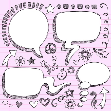 Sketchy 3-D Shaped Comic Book Style Speech and Thought Bubbles- Hand Drawn Notebook Doodles on Pink Lined Paper Background- Vector Illustration