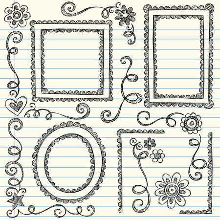 Frames and Borders Hand-Drawn Sketchy Scalloped Notebook Doodles Ornamental Set- Vector Illustration Design Elements on Lined Sketchbook Paper Background Vettoriali