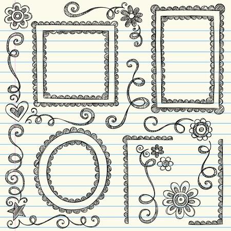 festonati: Cornici e bordi disegnati a mano Sketchy Scalloped Doodles Notebook ornamentali Set-Illustrazioni vettoriali Design Elements su sfondo foderato di carta Sketchbook