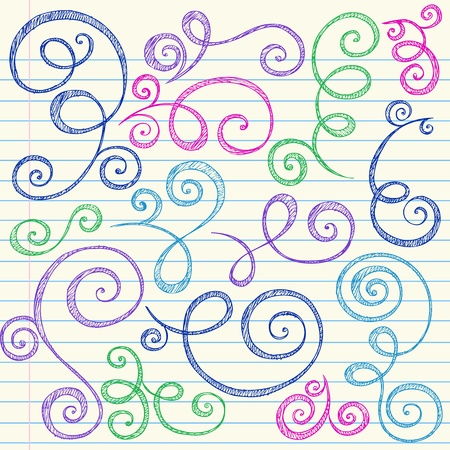 Swirls and Curls Hand-Drawn Sketchy Notebook Doodles Ornamental Flourish Set- Vector Illustration Design Elements on Lined Sketchbook Paper Background