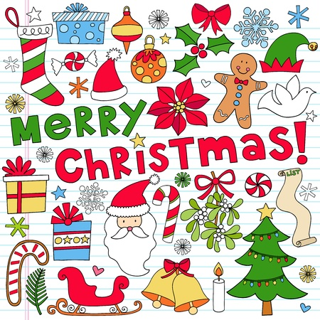 Merry Christmas Holiday Notebook Doodle Design Elements on Lined Sketchbook Paper Background- Vector Illustration Vectores