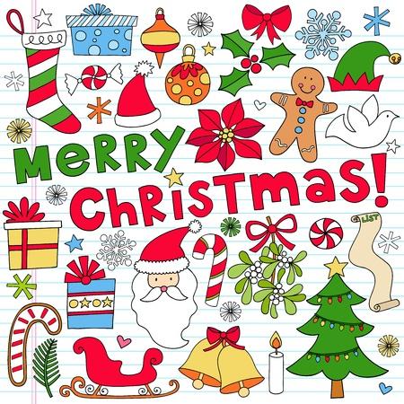elf christmas: Feliz d�a de fiesta de los elementos port�tiles Doodle dise�o en papel rayado Sketchbook de fondo-ilustraci�n vectorial Vectores