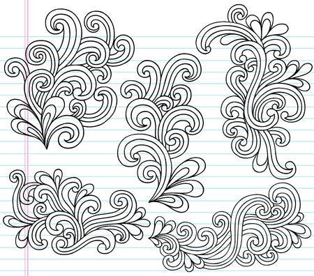ノートの落書き渦巻き模様のベクトル図のデザイン要素  イラスト・ベクター素材