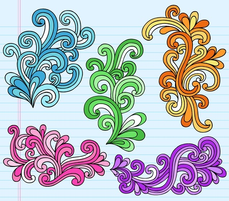 Psychedelic Notebook Doodle Swirly Vector Illustration Design Elements Vector