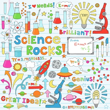 Science Back to School Notebook Doodles Vector Illustration Design Elements Chemestry Physics Icon Set with microscope, molecules, atoms, beakers, light bulb, rocket, and more Vettoriali