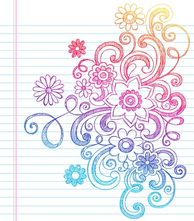 Flowers and Vines Sketchy Back to School Doodles- Notebook Doodle Vector Illustration Design Elements on Lined Sketchbook Paper Background Stock Vector - 11792482