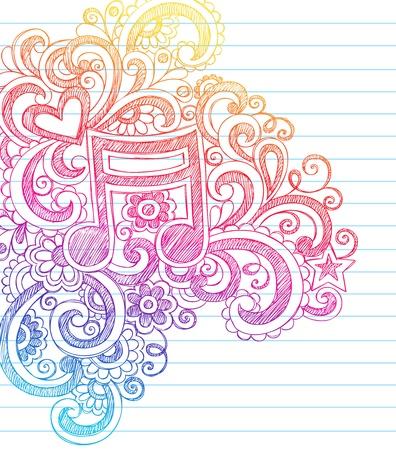 musica clasica: Música Sketchy Volver a la Escuela Garabatos con los remolinos, corazones y estrellas portátil Doodle Elementos de diseño vectorial Ilustración en el fondo forrado de papel Sketchbook Nota