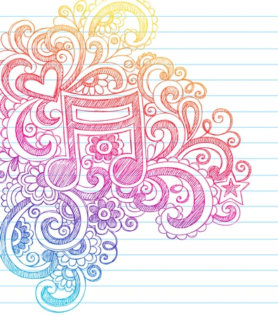 music sheet: Music Note Sketchy Back to School Doodles with Swirls, Hearts, and Stars Notebook Doodle Vector Illustration Design Elements on Lined Sketchbook Paper Background Illustration