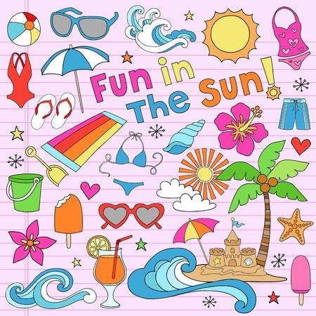 Summer Fun Tropical Beach Vaction Groovy Notebook Doodle Design Elements Set on Pink Lined Sketchbook Paper Background- Vector Illustration Illustration
