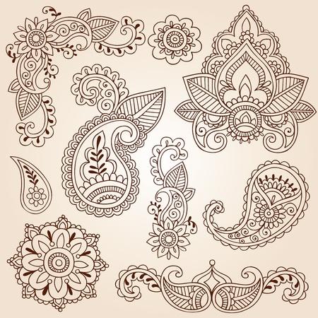 paisley: Henna Doodles Mehndi Abstract Floral Elementy Paisley Design, Mandala i Corner Projektowanie stron Ilustracja wektorowa Ilustracja