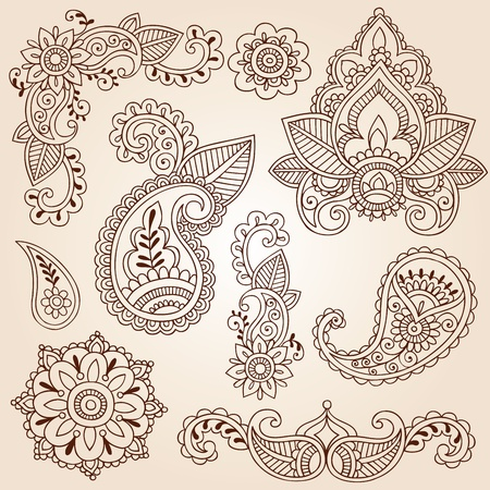 disegni cachemire: Henna Mehndi Doodles Abstract Floral Design Elementi Paisley, Mandala, e Corner pagina Illustrazione Vector Design