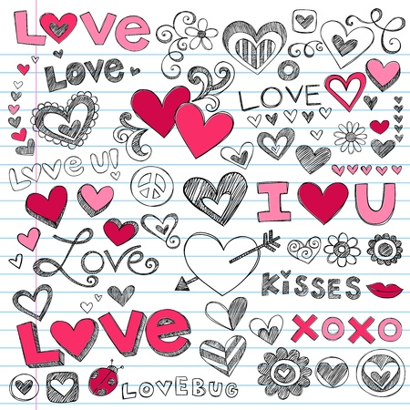 Valentines Day Love and Hearts Sketchy Doodle Vector Vettoriali