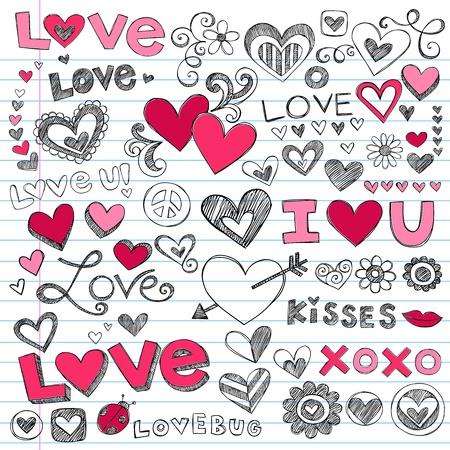 bacio: Valentines Day Amore e Cuori Sketchy vettoriali Doodle
