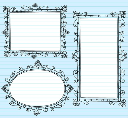 Inky Notebook Doodle Borders Frames with Swirls- Vector Illustration Design Elements on Lined Sketchbook Paper Background Çizim
