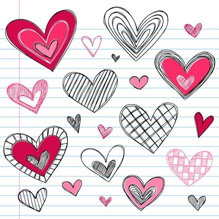 Valentines Day Hearts / Love Sketchy Notebook Doodles Design Elements on Lined Sketchbook Paper Background Vector Illustration