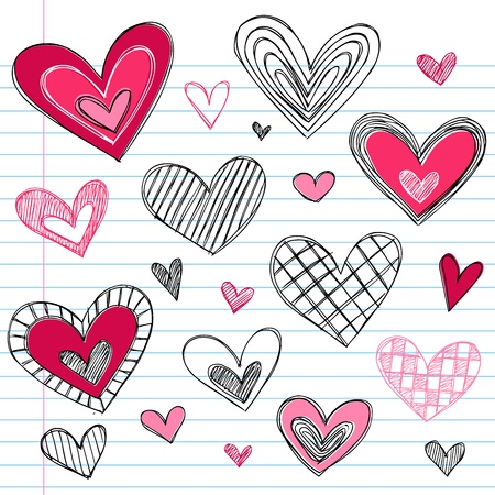 Valentines Day Hearts  Love Sketchy Notebook Doodles Design Elements on Lined Sketchbook Paper Background Vector Иллюстрация
