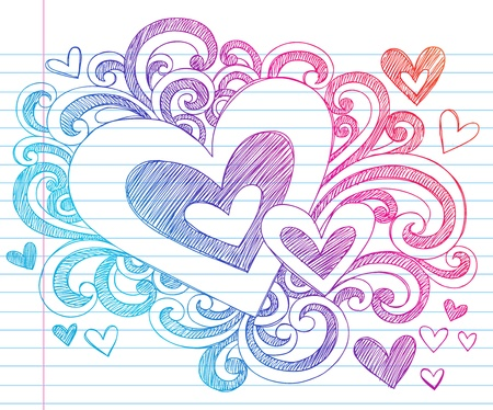 Valentines Day Love & Hearts Sketchy Notebook Doodles Design Elements on Lined Sketchbook Paper Background- Vector Illustration Ilustração