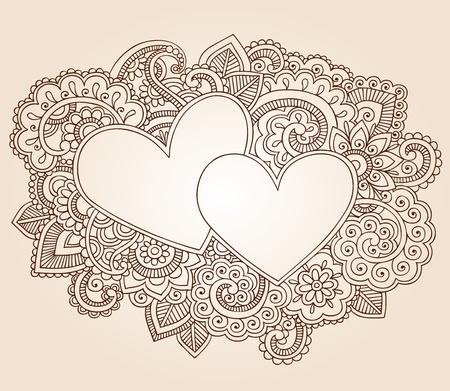 henna design: Corazones de San Valent�n Henna Mehndi Doodles D�a del Dise�o Floral Paisley ilustraci�n vectorial