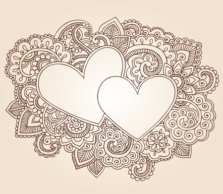 Hearts Henna Mehndi Valentines Day Doodles Floral Paisley Design Vector Illustration