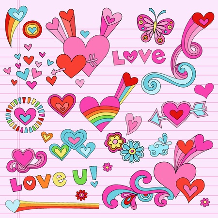 Valentines Day Love and Hearts Psychedelic Groovy Notebook Doodle Design Elements Set on Pink Lined Sketchbook Paper Background- Vector Illustration Vector