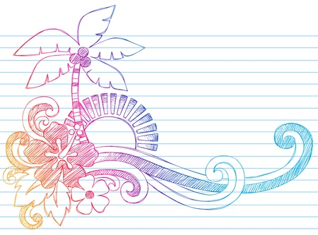 embellishment: Summer Hibiscus and Palm Tree Tropical Beach Vacation Sketchy Notebook Doodles Vector Illustration on Lined Sketchbook Paper Background Illustration
