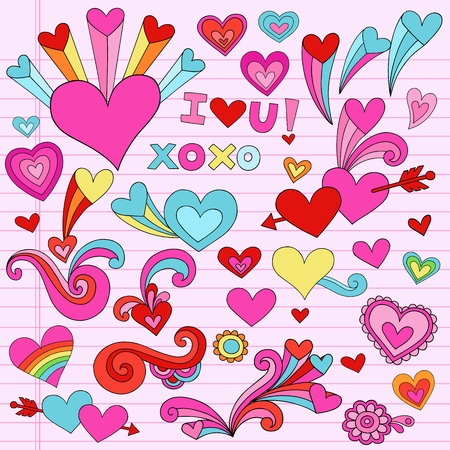 Valentine Love and Hearts Psychedelic Groovy Notebook Doodle Design Elements Set on Pink Lined Sketchbook Paper Background- Vector Illustration