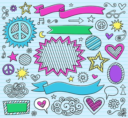 Psychedelic Inky Marker Notebook Doodle Design Elements Set on Blue Lined Sketchbook Paper Background Vector