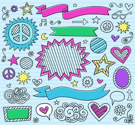 Psychedelic Inky Marker Notebook Doodle Design Elements Set on Blue Lined Sketchbook Paper Background