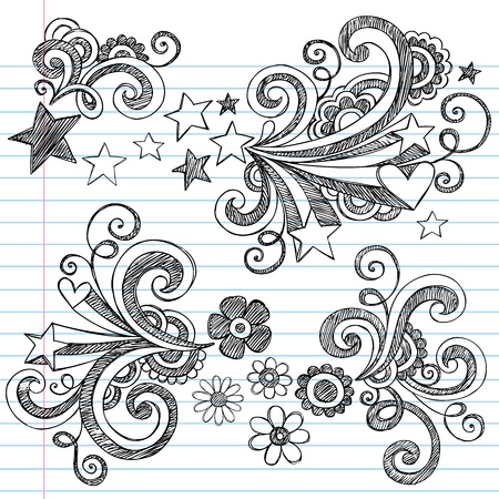 Hand-Drawn Back to School Stars and Flowers Sketchy Notebook Doodles Illustration Design Elements on Lined Sketchbook Paper Background Vector