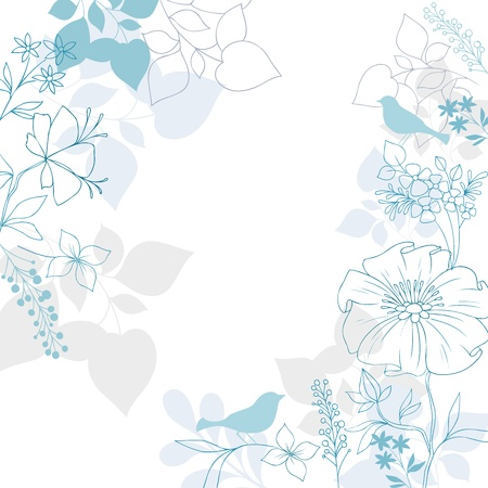 greeting card backgrounds: Elegant Floral Background- Bird Silhouettes, Flowers and Foliage Illustration Design Elements