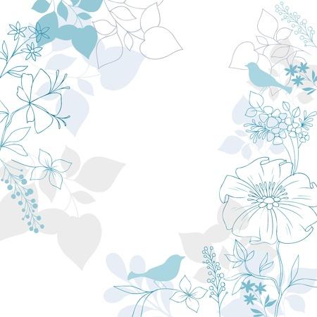 Elegante Bloemen Achtergrond-Bird Silhouetten, bloemen en bladeren Illustratie Ontwerp Elementen Stock Illustratie