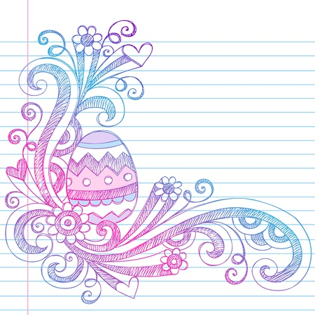 notebook paper background: Easter Egg Springtime Sketchy Notebook Doodles Illustration on Lined Sketchbook Paper Background