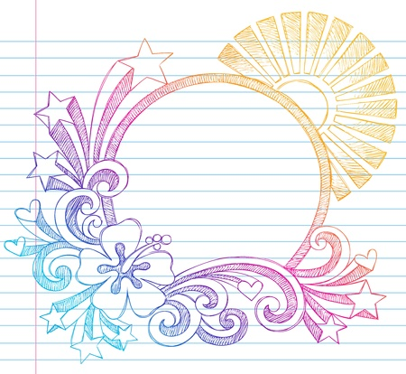 Summer Sun and Hibiscus Tropical Beach Border Frame Sketchy Notebook Doodles Illustration on Lined Sketchbook Paper Background Vector