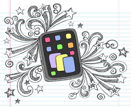 Tablet Computer Pad Hand-Drawn Schetsmatige Notebook Krabbels met Swirls en Shooting Stars-Illustration Design Elements op Lined Sketchbook papier achtergrond