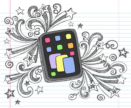 Tablet Computer Pad Hand-Drawn Sketchy Notebook Doodles with Swirls and Shooting Stars- Illustration Design Elements on Lined Sketchbook Paper Background