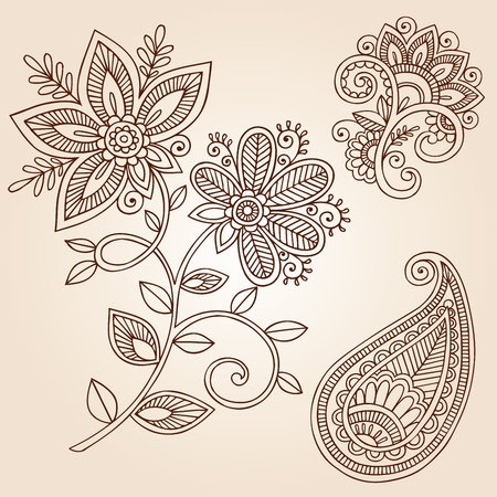 Henna Mehndi Flower Doodles Abstract Floral Paisley Design Elements Illustration Vectores