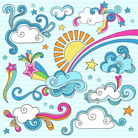 Psychedelic Groovy Clouds, Sun, and Rainbow Notebook Doodle Design Elements Set on Lined Sketchbook Paper Background