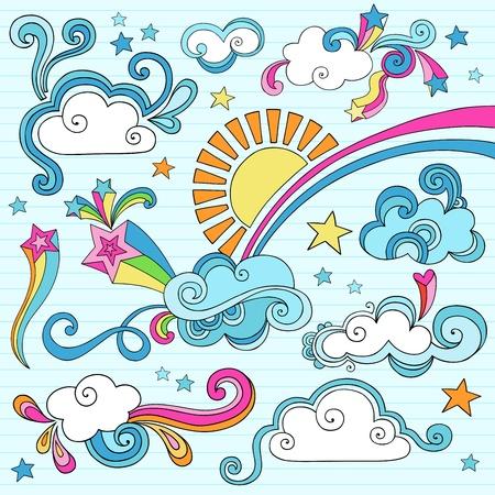 Routinier psychédélique nuages, soleil, et Rainbow Elements Portable conception Doodle Set sur fond rayé de papier à dessin,