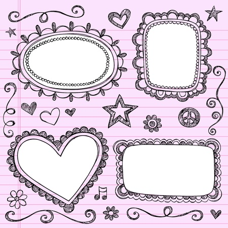 Frames and Borders Hand-Drawn Sketchy Ornamental Notebook Doodles Picture Frame Set- Illustration Design Elements on Lined Sketchbook Paper Background Ilustração
