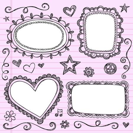 Frames and Borders Hand-Drawn Sketchy Ornamental Notebook Doodles Picture Frame Set- Illustration Design Elements on Lined Sketchbook Paper Background Vectores