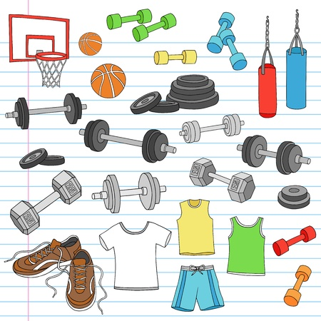 hand with dumbbell: Mens Fitness Workout Sports Apparel and Exercise Equipment Notebook Doodle Design Elements Set on Lined Sketchbook Paper Background
