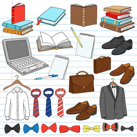 business shoes: Mens Business Work Gentleman Doodles Notebook Doodle Design Elements Set on Lined Sketchbook Paper Background