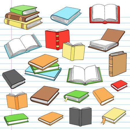 Hand Getrokken Notebook Doodles Boeken Notebook Doodle Design Elements ligt aan Gevoerde Sketchbook Paper achtergrond Stock Illustratie