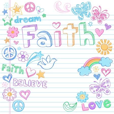 fede: Mano Faith Drawn Back to School Sketchy Doodles Style Elementi di design Illustrazione per notebook su sfondo Lined Paper Sketchbook Vettoriali