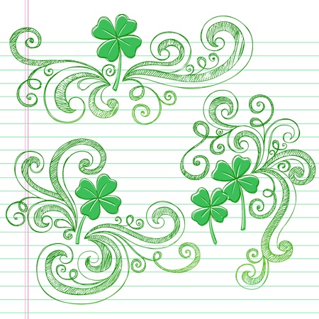 four leaf: St Patricks Day Tr�bol de cuatro hojas tr�boles Sketchy Doodle regreso a la escuela de estilo Notebook Doodles Ilustraci�n Elementos de dise�o en el fondo forrado de papel Sketchbook Vectores