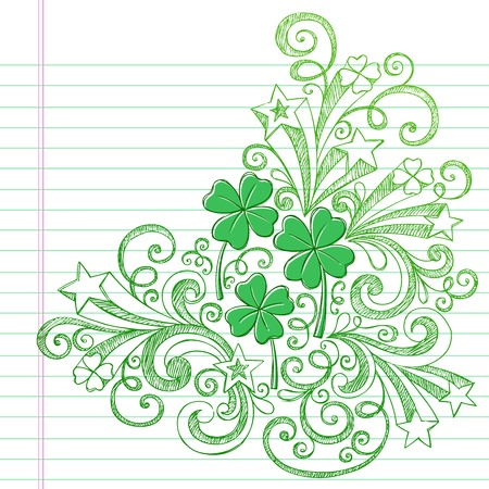 lucky clover: Four Leaf Clover St Patricks Day Sketchy Doodle Shamrocks Back to School Style Sketchy Notebook Doodles Illustration Design Elements on Lined Sketchbook Paper Background
