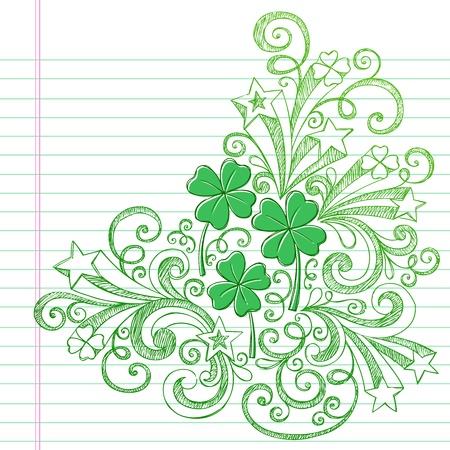 mars: Quatre Clover Leaf St Patricks Day Sketchy Shamrocks Doodle Retour � l'�cole de style Sketchy Notebook Doodles Illustration �l�ments de design sur fond Sketchbook papier lign� Illustration