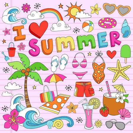 背景にピンクの裏地スケッチ用紙に夏サイケデリック グルーヴィーなノートブック落書きデザイン要素セットを愛してください。  イラスト・ベクター素材