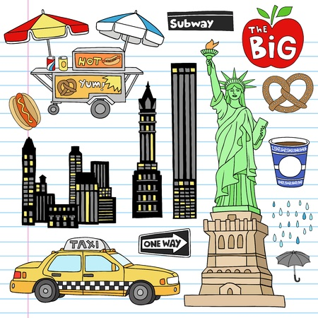 manhattan skyline: Stock Vector Illustration: New York City Manhattan Notebook Doodle Design Elements Set on Lined Sketchbook Paper Background- Hand Drawn Illustration